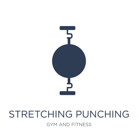 Stretching Punching Ball icon. Trendy flat vector Stretching Punching Ball icon on white background from Gym and fitness collection, vector illustration can be use for web and mobile, eps10