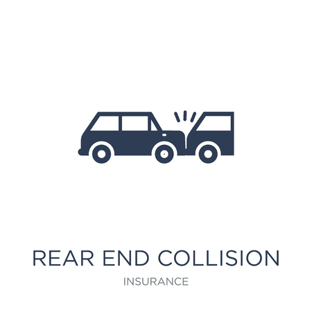 Illustration pour Rear end collision icon. Trendy flat vector Rear end collision icon on white background from Insurance collection, vector illustration can be use for web and mobile, eps10 - image libre de droit