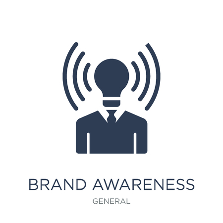 Ilustración de brand awareness icon. Trendy flat vector brand awareness icon on white background from general collection, vector illustration can be use for web and mobile, eps10 - Imagen libre de derechos