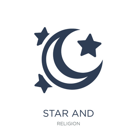 Ilustración de Star and Crescent Moon icon. Trendy flat vector Star and Crescent Moon icon on white background from Religion collection, vector illustration can be use for web and mobile, eps10 - Imagen libre de derechos