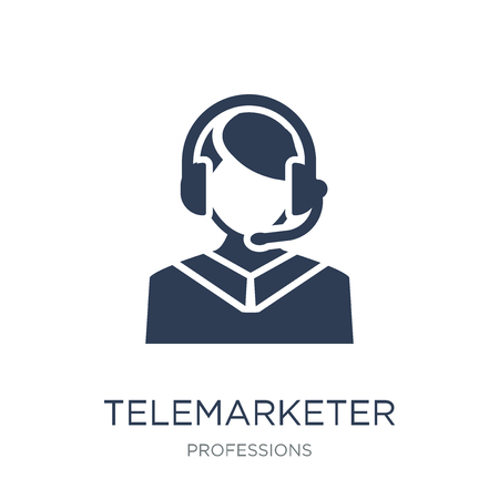 Telemarketer icon. Trendy flat vector Telemarketer icon on white background from Professions collection, vector illustration can be use for web and mobile, eps10