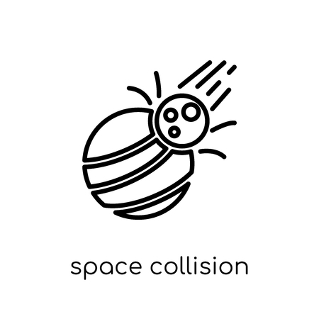 Illustration pour space collision icon. Trendy modern flat linear vector space collision icon on white background from thin line Astronomy collection, outline vector illustration - image libre de droit