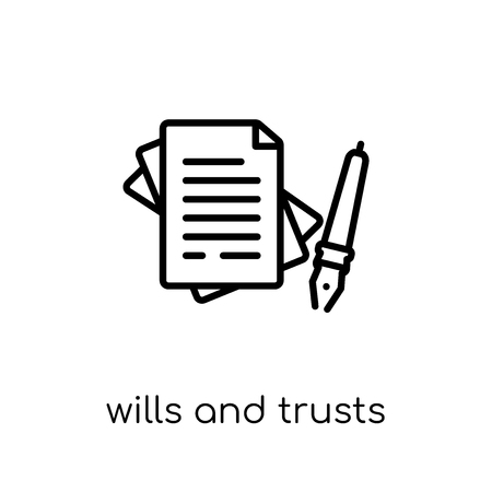 Illustration pour wills and trusts icon. Trendy modern flat linear vector wills and trusts icon on white background from thin line law and justice collection, editable outline stroke vector illustration - image libre de droit