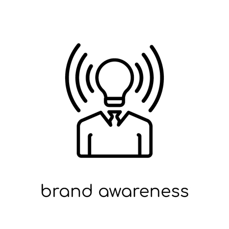 Ilustración de brand awareness icon. Trendy modern flat linear vector brand awareness icon on white background from thin line general collection, editable outline stroke vector illustration - Imagen libre de derechos