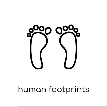 Illustration for Human footprints icon. Trendy modern flat linear vector Human footprints icon on white background from thin line Human Body Parts collection, editable outline stroke vector illustration - Royalty Free Image