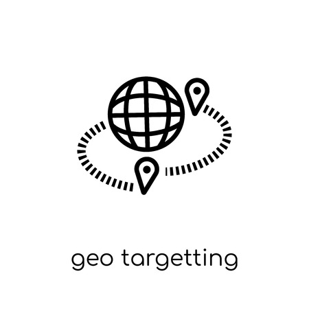 geo targetting icon. Trendy modern flat linear vector geo targetting icon on white background from thin line Maps and Locations collection, editable outline stroke vector illustration