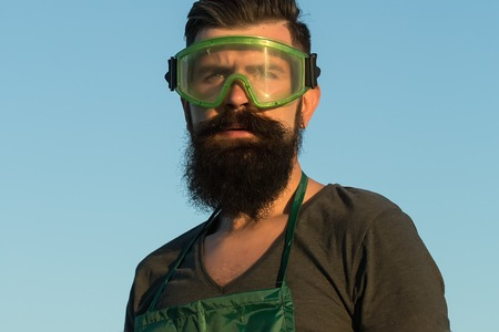 Closeup view of one handsome young adult man worker with long lush beard in green apron and work glasses standing outdoor in sunset on blue sky background, horizontal picture