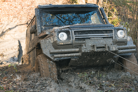 SUV is pulled out from puddle of mud by car winch. Crossover in dangerous situation. Dirty offroad car stuck in deep rut with nature on background. 4x4 racing concept.