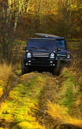 SUV or two black offroad cars on fall nature background. Offroad race in autumn forest. Car racing, extreme and four wheel drive vehicles concept