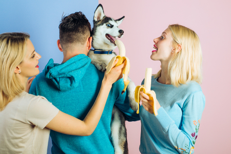 Providing him different vitamins and minerals. Pet sitters feed the pet. Happy women and man play with family pet. Group of friends with purebred dog breed. Happy family have fun with husky dog.