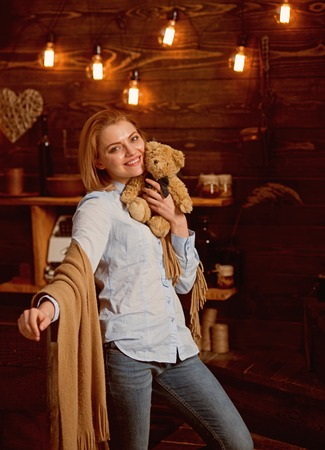 Cuddly toy. Adorable woman happy smiling with present. My favorite toy. Pretty woman with teddy bear. Sensual woman hold toy bear. Sexy woman with soft toy
