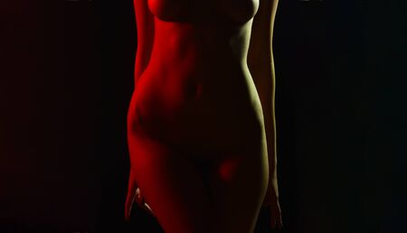 In ideal body shape. Nude female body with slim waist and thighs. Naked sexy body with breast and fit abdomen belly. A womans body and sexual attractiveness