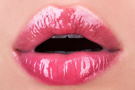 Photo for Girl open mouths. Natural beauty lips. Woman lips with pink lipstick. Sensual womens lip balm. Red lip with glossy lipgloss. Close up, macro with beautiful mouths. - Royalty Free Image