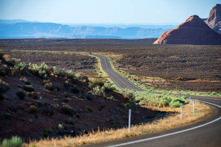 Photo for Panoramic skyline with empty road. Traveling Theme. - Royalty Free Image
