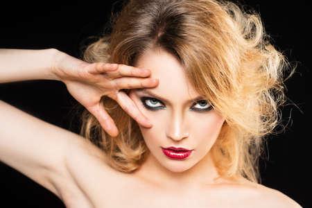Photo for Sexy woman with fashion makeup. Visage, beauty salon, cosmetics. Smokey eyes make up. - Royalty Free Image