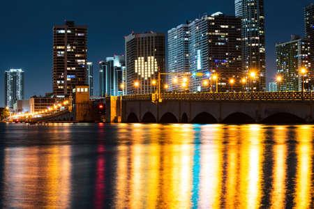 Photo for Miami skyline panorama with urban skyscrapers. Miami city night. - Royalty Free Image