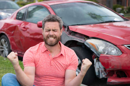 Photo pour The car broke down, driver shocked. Road trip problems and assistance concepts. - image libre de droit