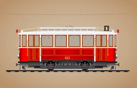 Illustration pour Traditional red tram on tre rail side view - image libre de droit