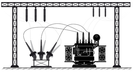 Ilustración de Electrical substation. The high-voltage transformer and switch. Risk of electric shock. electricity supply. - Imagen libre de derechos