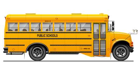 Illustration for Yellow classic school bus. Side view. American education. Three-dimensional image with carefully traced details. - Royalty Free Image