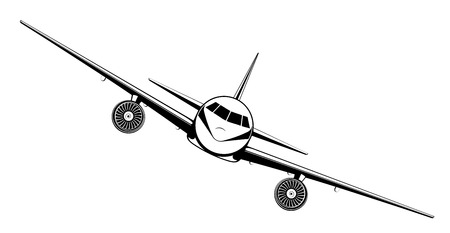 Illustration for Airplane on blue background. Plane flying in the sky. Front view. Aircraft flat style vector illustration. - Royalty Free Image