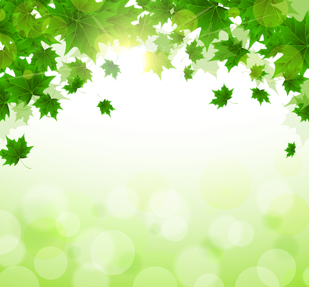 Illustration for Frame of fresh green leaves of maple. Sunny spring or summer day. Awakening of nature. Cover or background for an article. Copy space. - Royalty Free Image