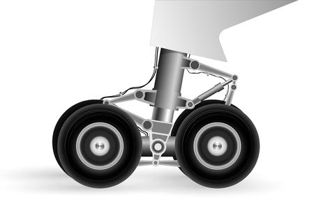 Ilustración de The chassis of the modern aircraft when landing on the runway. Wheels rotate rapidly - Imagen libre de derechos
