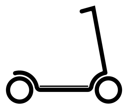 Illustration pour Electric scooter with battery in the platform. Black contour on a white background. Youth modern form of transport - image libre de droit