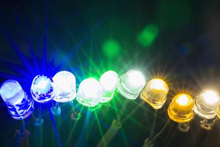 Photo pour A row of colorful shining led lights - image libre de droit
