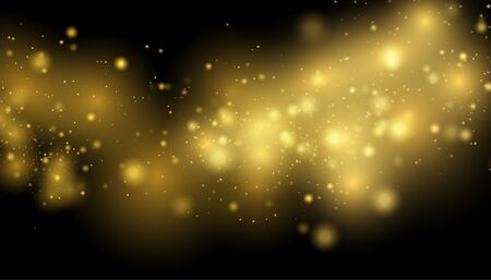 Illustration for Golden Lights Background. Christmas Lights Concept.   Sparkling magical dust particles. Magic concept. - Royalty Free Image