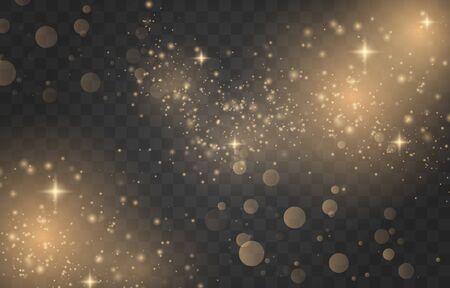Illustration pour White sparks and golden stars glitte. Glow magic light effect. Star dust.  - image libre de droit