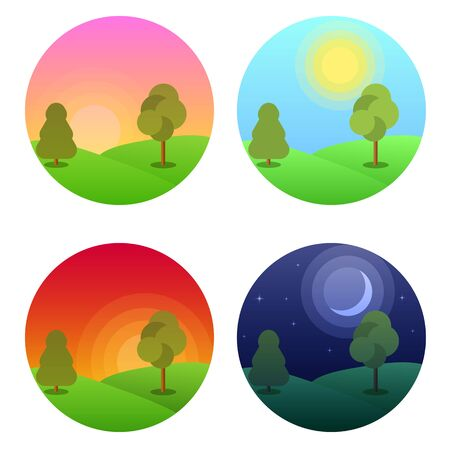 Illustration pour Modern beautiful landscape with gradients.  Morning, noon, sunset and night stars .  Daytime vector - image libre de droit