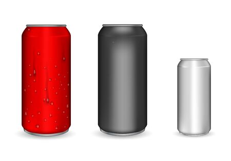 Illustration pour Realistic aluminum cans. Metallic cans for beer, soda, lemonade, juice, energy drink. Vector mockup, blank with copy space. - image libre de droit