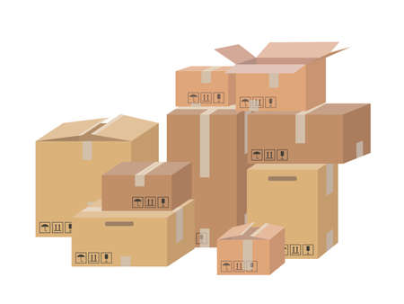 Illustration pour Carton delivery packaging open and closed box with fragile signs. Shipping parcel packaging templates collection. - image libre de droit