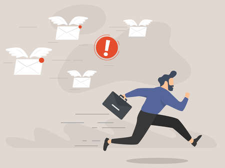 Illustration for A frightened businessman is running away from a plenty emails chasing him - Royalty Free Image