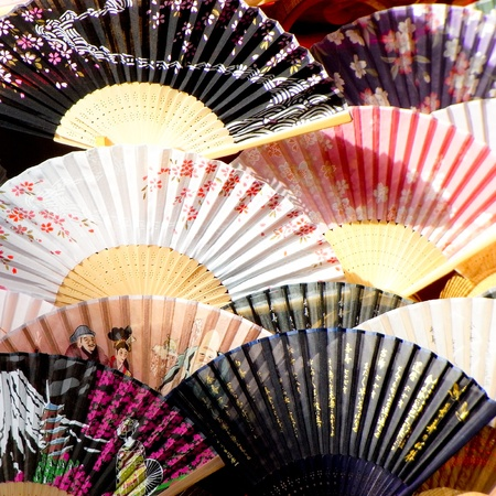 Close up shot of a variety of Japanese fans