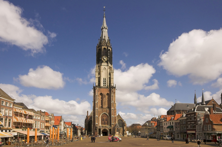 Nieuwe Kerk cathedral in Delft, panorama of the main square