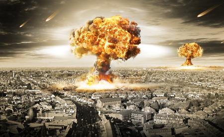 nuclear war illustration with multiple explosions