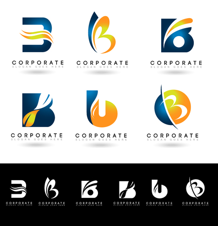 Letter B Logo Designs. Creative abstract vector letter B icons with blue and orange colors.