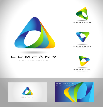 Illustration pour Triangle Logo Design. Creative abstract triangle icon logo and business card template. - image libre de droit