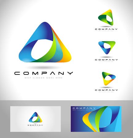 Ilustración de Triangle Logo Design. Creative abstract triangle icon logo and business card template. - Imagen libre de derechos