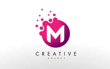 Illustration for Dots Letter M Logo. M Letter Design Vector with Dots. - Royalty Free Image
