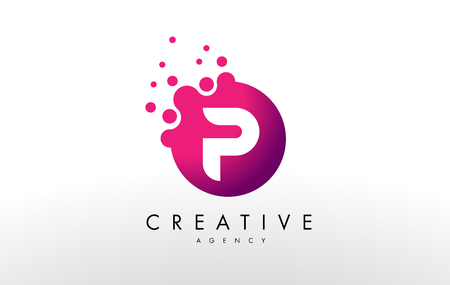 Ilustración de Dots Letter P Logo. P Letter Design Vector with Dots. - Imagen libre de derechos