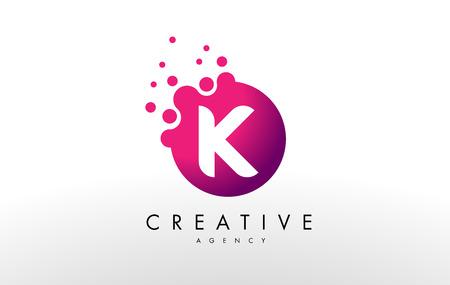 Dots Letter K Logo. K  Letter Design Vector with Dots.