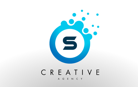 Illustration for s Dots Letter Logo. Blue Bubble Design Vector Illustration. - Royalty Free Image