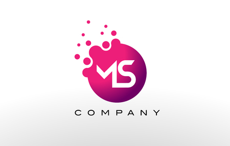 MS Letter Dots Logo Design with Creative Trendy Bubbles and Purple Magenta Colors.