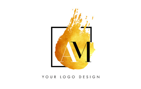 AM Gold Letter Brush Logo. Golden Painted Watercolor Background with Square Frame Vector Illustration.