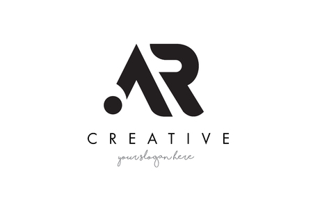 AR Letter Logo Design with Creative Modern Trendy Typography and Black Colors.
