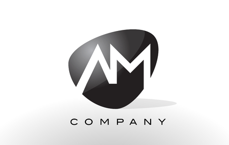 AM Logo. Letter Design Vector with Oval Shape and Black Colors.