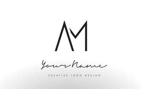 Ilustración de AM Letters Logo Design Slim. Simple and Creative Black Letter Concept Illustration. - Imagen libre de derechos